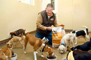 Greg Shearson with 8 dogs eating kibble