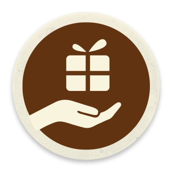 Hand holding a gift icon