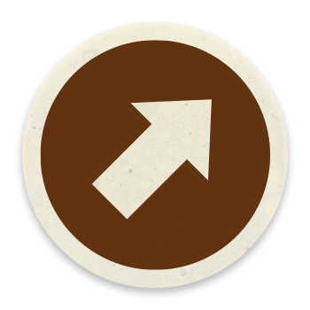 Arrow pointing up to the right on a brown circle background