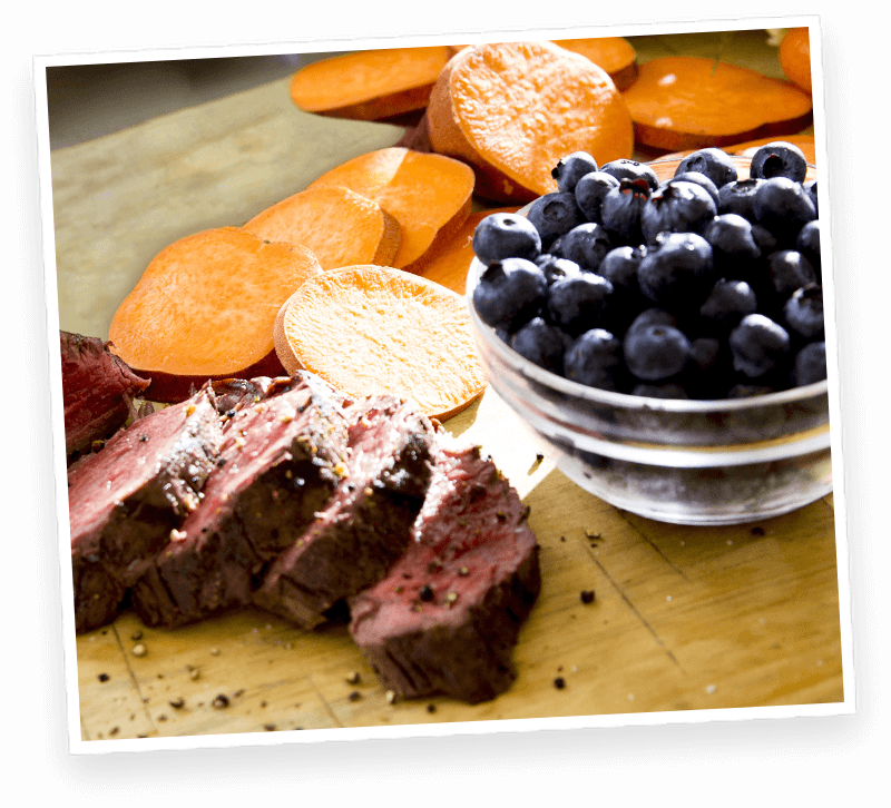 Raw beef, sweet potatoes and blueberries