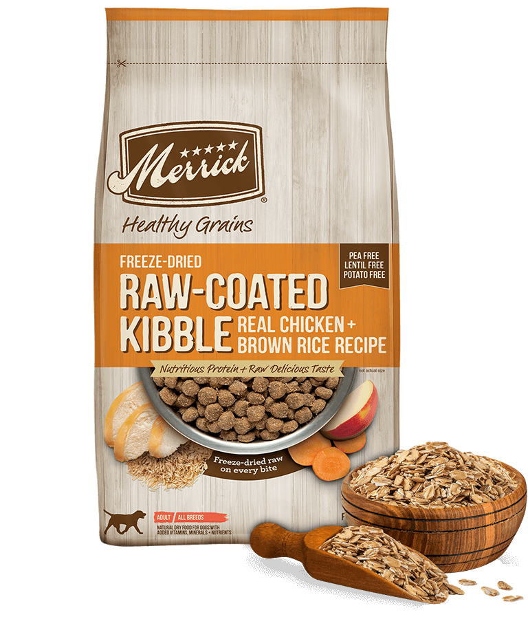 Merrick Healthy Grains Raw Coated Kibble Real Chicken and Brown Rice Dry Recipe